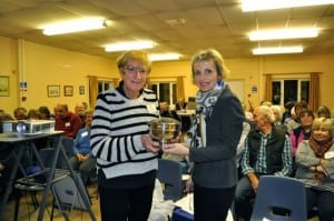 Kay JOnes accepts her rose bowl from Chair Joanne Blacker