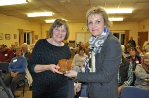 Rachel Crawford accepts her award from Chair Joanne Blacker