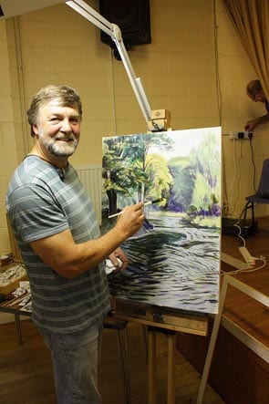 Paul Blackwell demonstrtates his painting techniques at Driffield Art Club 20 October 2013: Driffield Art Club